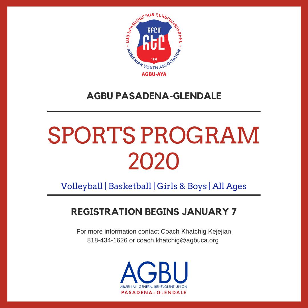 AGBU Pasadena-Glendale Sports Program Flyer 2020