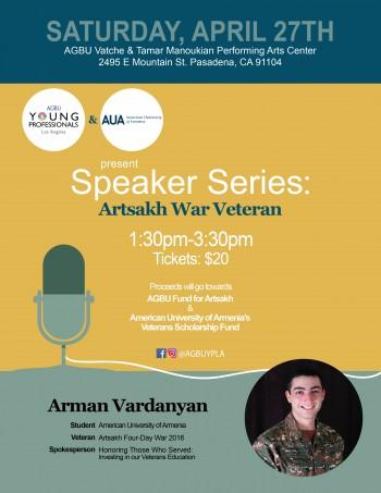 AGBU YPLA Speaker Series: Artsakh War Veteran, Arman Vardanyan